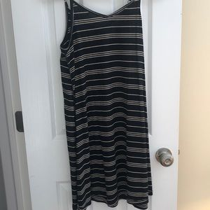 Oversized black and white striped dress